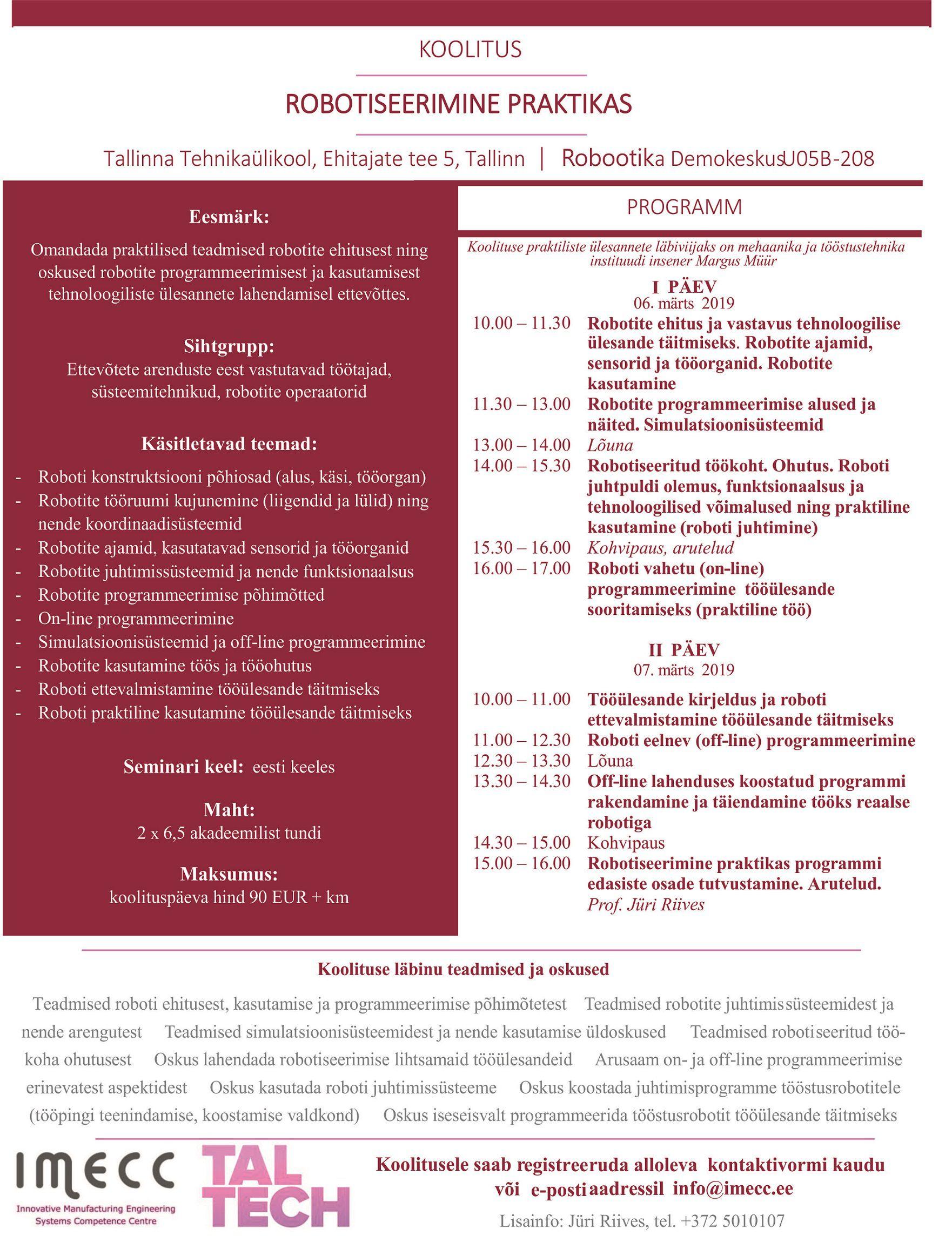 b3458acca72 IMECC ja Tallinna Tehnikaülikool kutsuvad osalema koolitusel